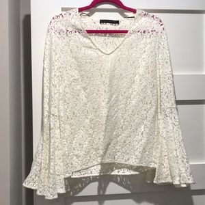 Zara lace bell sleeve top